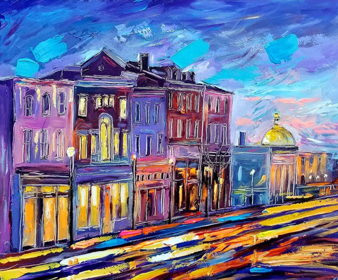 "Blue Evening, Georgetown II | M Street | Original Oil and Acrylic Painting by Zachary Sasim | 24"" by 30""-Acrylic Painting-Sterling-and-Burke"