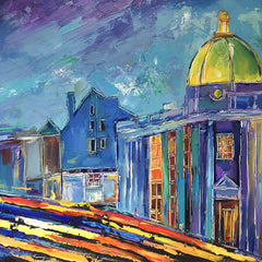 "Blue Evening, Georgetown | M Street | Original Oil Painting on Canvas by Zachary Sasim | 24"" by 30"" 
