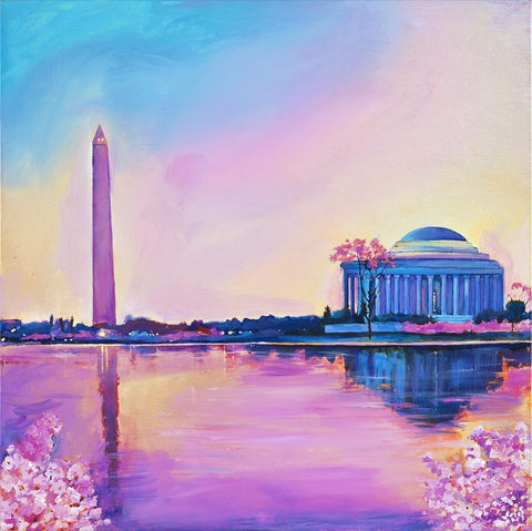 "Art | Cherry Blossom Jefferson Memorial | Giclee by Zachary Sasim | 24"" by 24""-Giclee Print-Sterling-and-Burke"