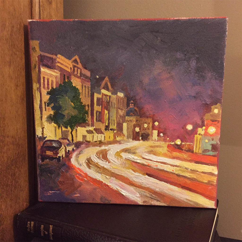 "Night Georgetown | Washington, DC Art | Original Oil and Acrylic Painting on Canvas by Zachary Sasim | 8"" by 8"" 