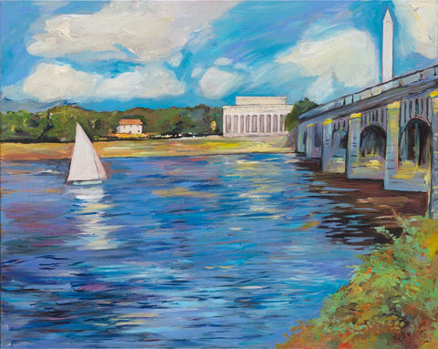 "Art | Lincoln | Bridge | Claude Monet Interpretation | Washington, DC Art | Original Acrylic on Canvas by Zachary Sasim | 24"" by 30"""