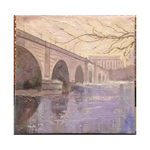 "Memorial Bridge with Ice | Original Oil and Acrylic Painting by Zachary Sasim | 8"" by 8"" 
