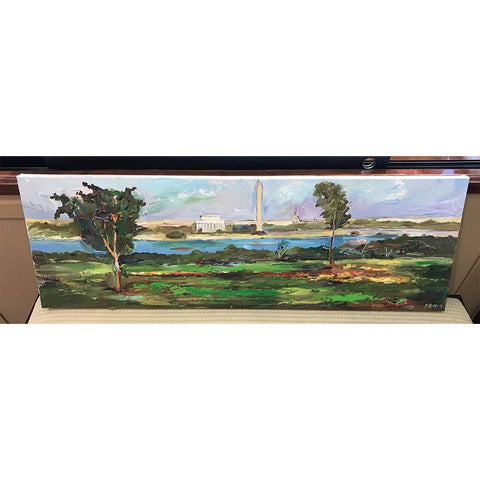 "Monuments From The Park | Original Oil and Acrylic Painting by Zachary Sasim | 12"" by 36""-Oil and acrylic-Sterling-and-Burke"