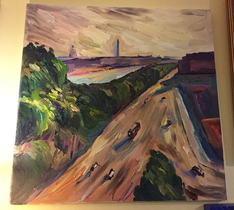 "Paris Meets DC | Washington, DC Art | Original Oil and Acrylic Painting by Zachary Sasim | 30"" by 30""-Oil and acrylic-Sterling-and-Burke"