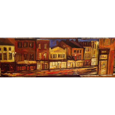 "Georgetown, Penn Ave DC Night | Original Oil and Acrylic Painting on Canvas by Zachary Sasim | 12"" by 36"" 