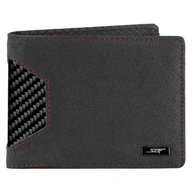 Alcantara & Real Carbon Fiber Bi-Fold Wallet (Red Stitching)