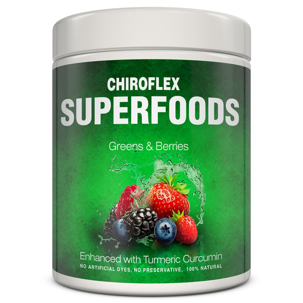 Superfood Green Supplement with Berries and Turmeric Curcumin powder. Veggies, fruits and greens - Total Tea & Chiroflex Supplements