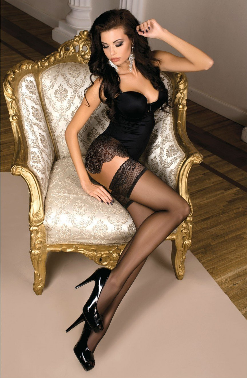 Ballerina Hold Ups 102 (Black) - Hold Up Stockings - Ballerina - Charm and Lace Boutique