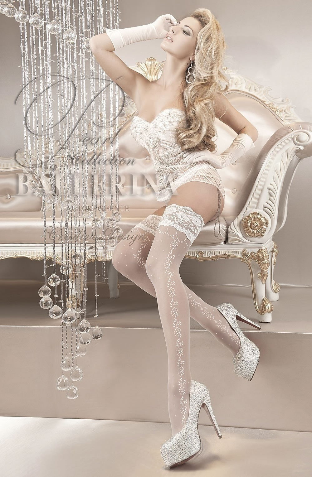 Ballerina Hold Ups 119 (White) - Hold Up Stockings - Ballerina - Charm and Lace Boutique