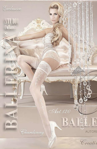 Ballerina Hold Ups 120 (White) - Hold Up Stockings - Ballerina - Charm and Lace Boutique