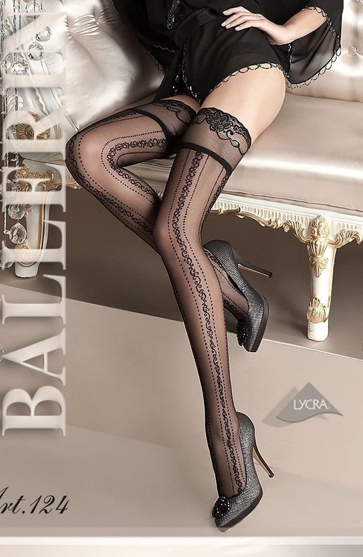 Ballerina Hold Ups 124 (Black) - Hold Up Stockings - Ballerina - Charm and Lace Boutique