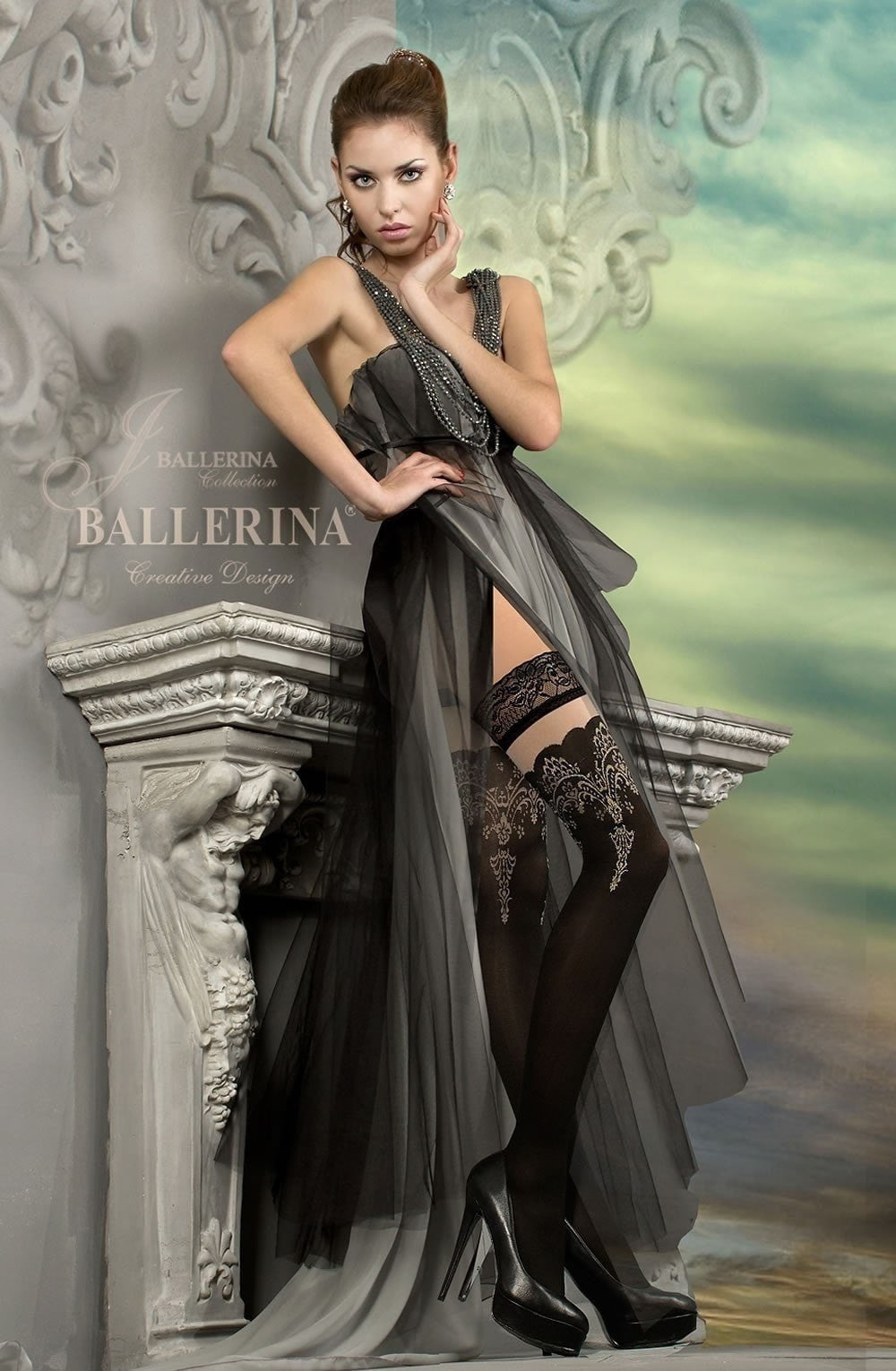 Ballerina Hold Ups 220 (Black) - Hold Up Stockings - Ballerina - Charm and Lace Boutique