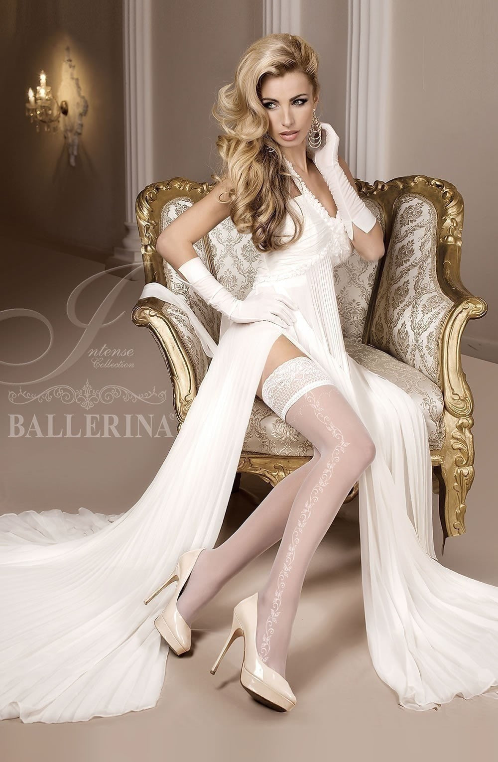Ballerina Hold Ups 257 (Ivory) - Hold Up Stockings - Ballerina - Charm and Lace Boutique
