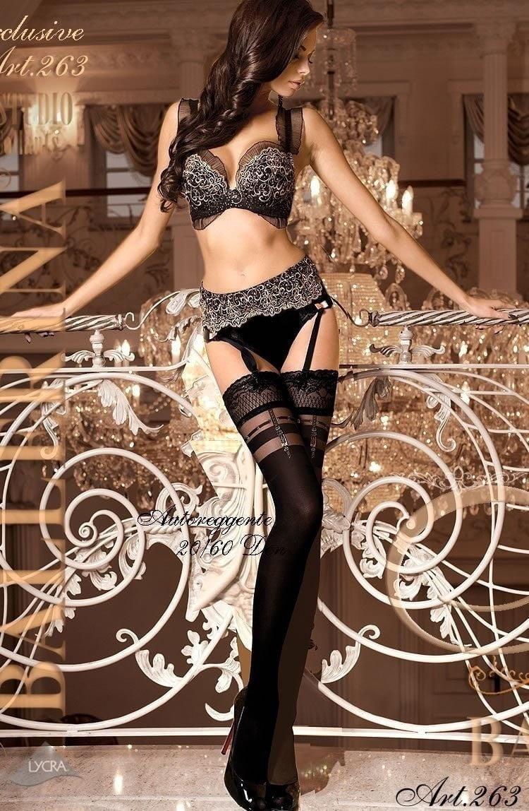 Ballerina Hold Ups 263 (Black) - Hold Up Stockings - Ballerina - Charm and Lace Boutique