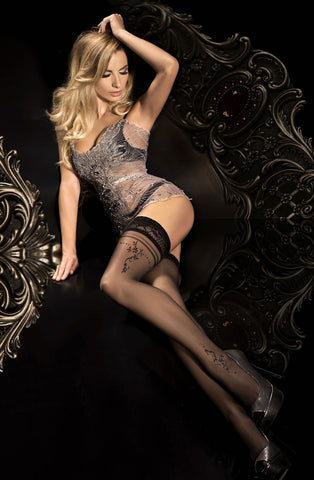 Ballerina Hold Ups 291 (Black) - Hold Up Stockings - Ballerina - Charm and Lace Boutique