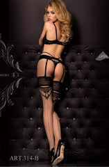Ballerina Hold Ups 314 (Black/Skin) - Hold Up Stockings - Ballerina - Charm and Lace Boutique