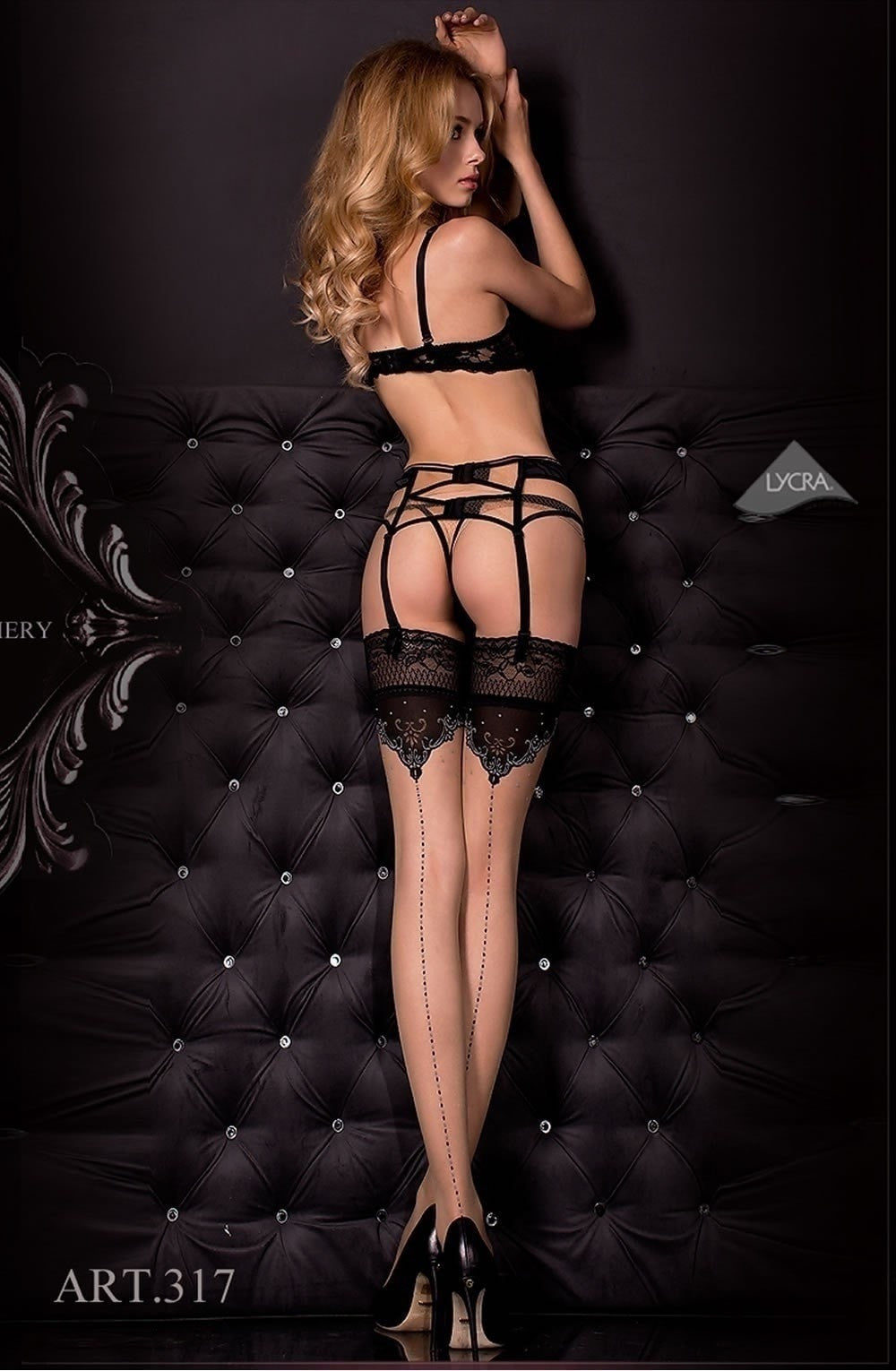 Ballerina Hold Ups 317 (Black/Skin) - Hold Up Stockings - Ballerina - Charm and Lace Boutique