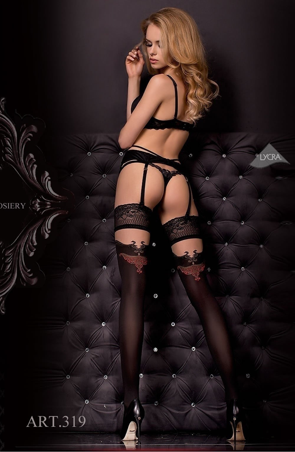 Ballerina Hold Ups 319 (Black) - Hold Up Stockings - Ballerina - Charm and Lace Boutique