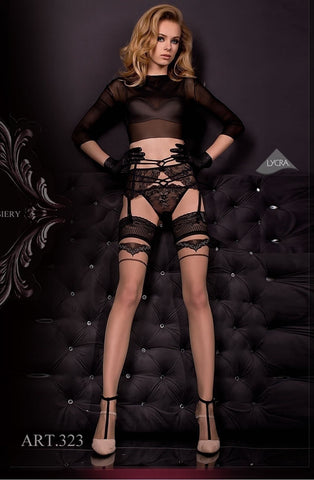 Ballerina Hold Ups 323 (Black/Skin) - Hold Up Stockings - Ballerina - Charm and Lace Boutique