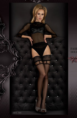 Ballerina Hold Ups 344 (Black) - Hold Up Stockings - Ballerina - Charm and Lace Boutique
