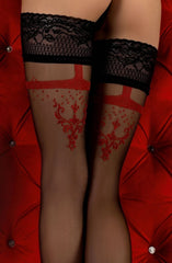Ballerina Hold Ups 344 (Black/Red) - Hold Up Stockings - Ballerina - Charm and Lace Boutique