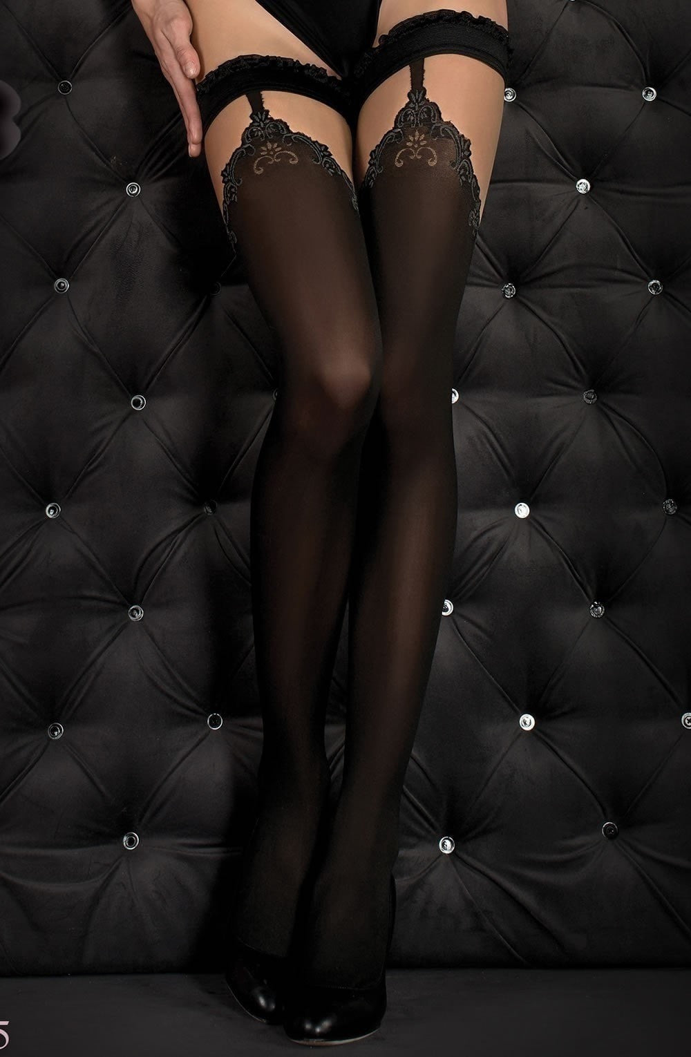 Ballerina Hold Ups 345 (Black) - Hold Up Stockings - Ballerina - Charm and Lace Boutique