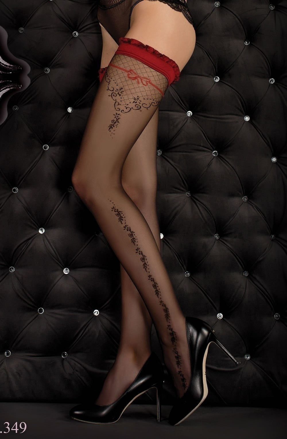 Ballerina Hold Ups 349 (Black/Red) - Hold Up Stockings - Ballerina - Charm and Lace Boutique