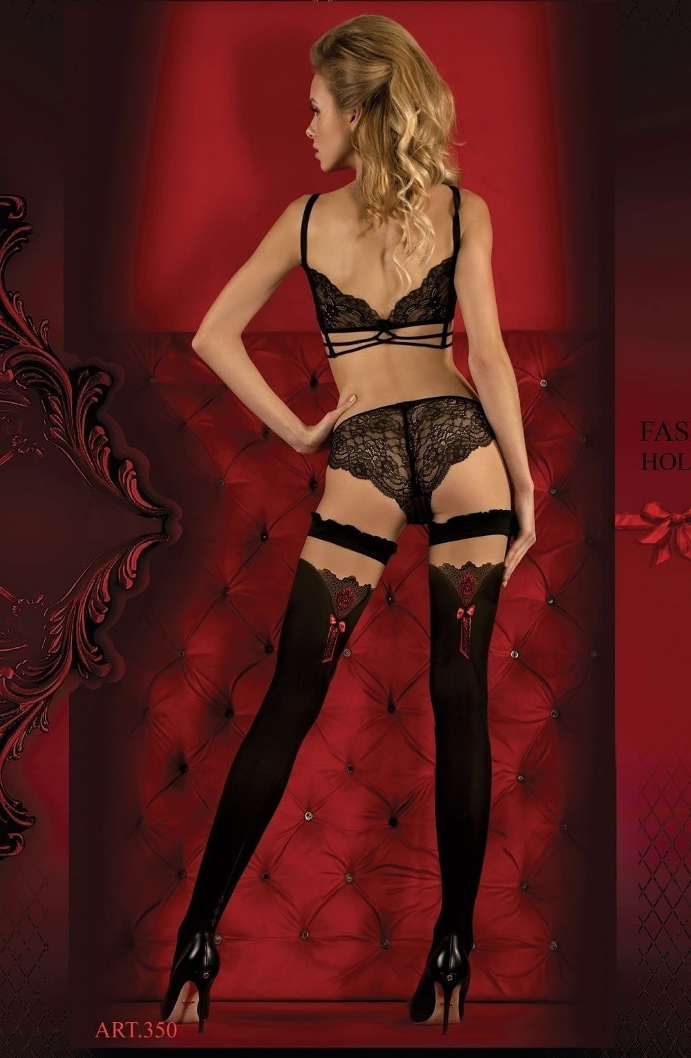 Ballerina Hold Ups 350 (Black/Red) - Hold Up Stockings - Ballerina - Charm and Lace Boutique