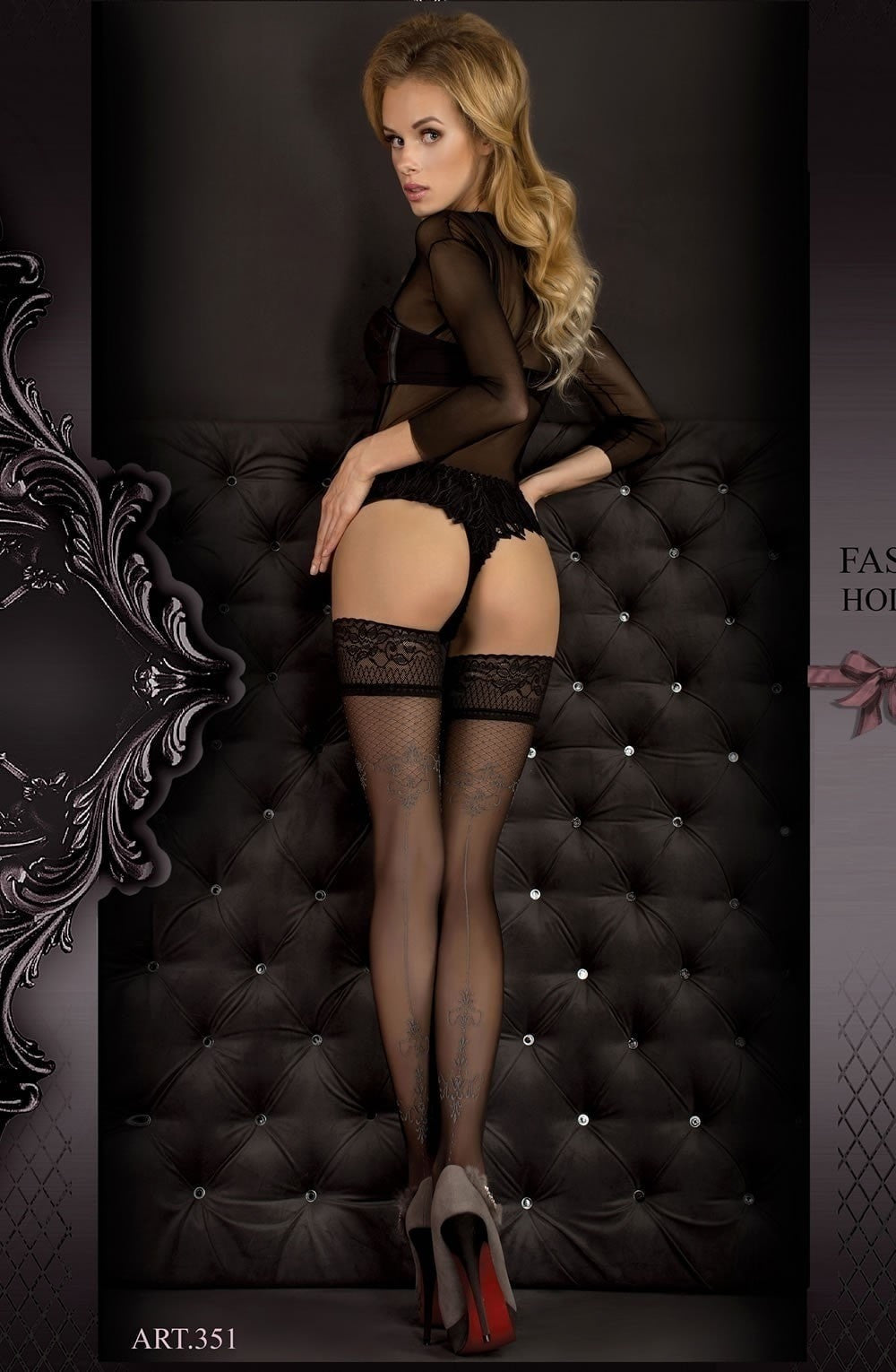 Ballerina Hold Ups 351 (Black/Smoke) - Hold Up Stockings - Ballerina - Charm and Lace Boutique