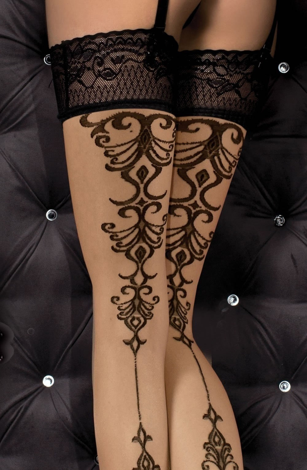 Ballerina Hold Ups 357 (Skin/Black) - Hold Up Stockings - Ballerina - Charm and Lace Boutique