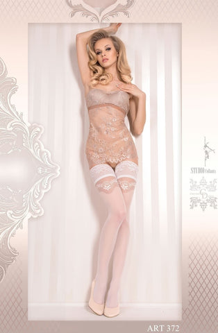 Ballerina Hold Ups 372 (White) - Hold Up Stockings - Ballerina - Charm and Lace Boutique