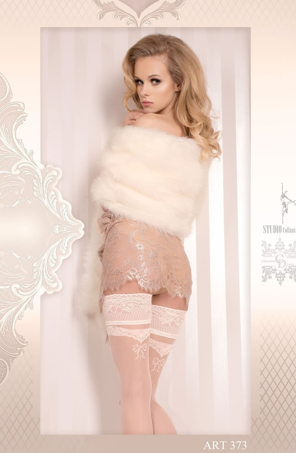Ballerina Hold Ups 373 (Ivory) - Hold Up Stockings - Ballerina - Charm and Lace Boutique