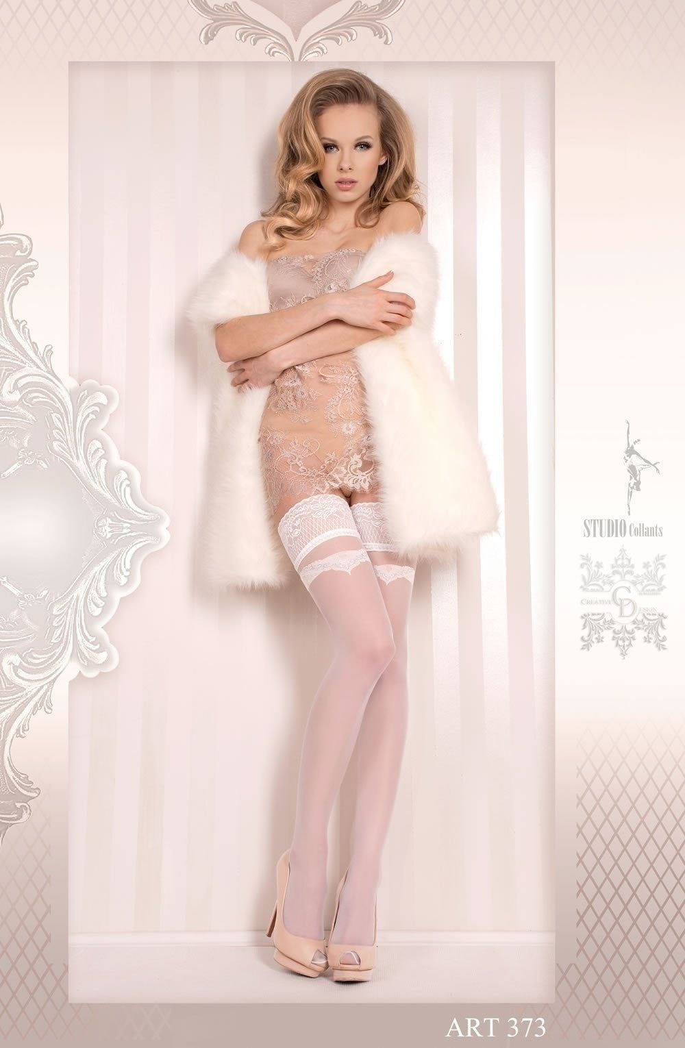 Ballerina Hold Ups 373 (White) - Hold Up Stockings - Ballerina - Charm and Lace Boutique