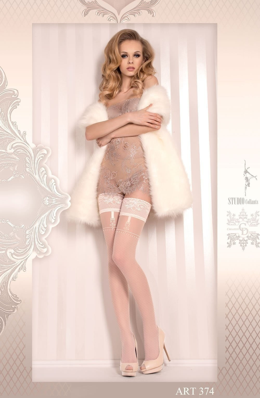 Ballerina Hold Ups 374 (Ivory) - Hold Up Stockings - Ballerina - Charm and Lace Boutique