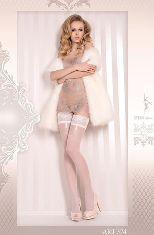 Ballerina Hold Ups 374 (White) - Hold Up Stockings - Ballerina - Charm and Lace Boutique