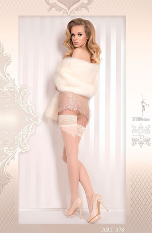 Ballerina Hold Ups 378 (Ivory) - Hold Up Stockings - Ballerina - Charm and Lace Boutique