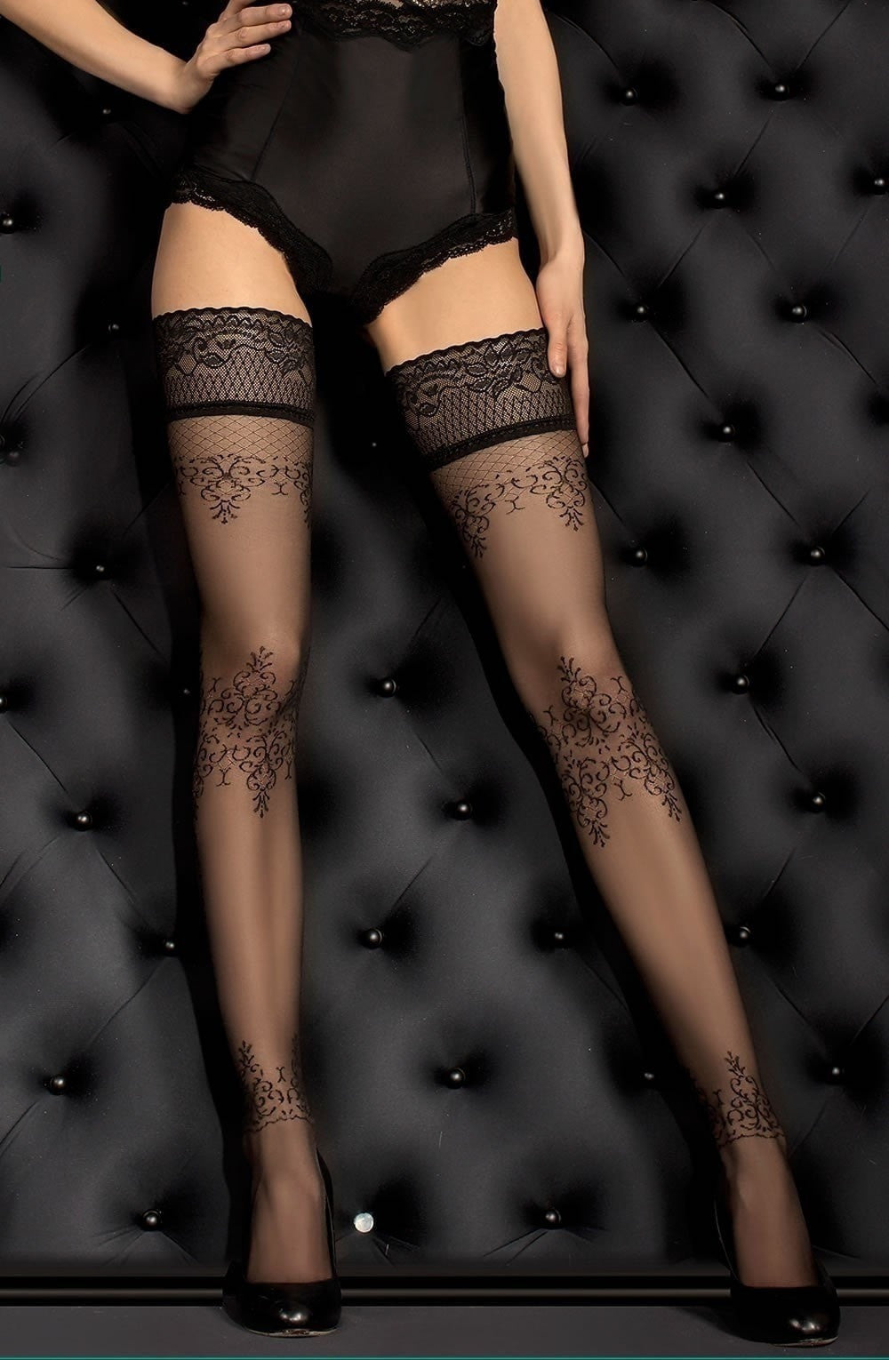 Ballerina Hold Ups 382 (Black) - Hold Up Stockings - Ballerina - Charm and Lace Boutique