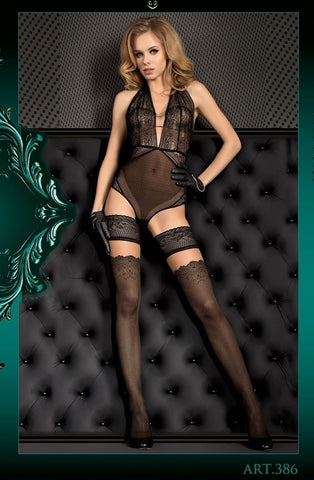 Ballerina Hold Ups 386 (Black/Skin) - Hold Up Stockings - Ballerina - Charm and Lace Boutique