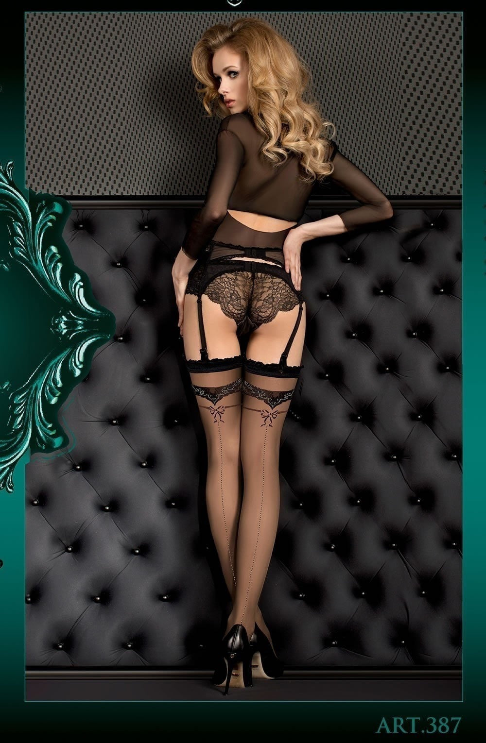 Ballerina Hold Ups 387 (Black) - Hold Up Stockings - Ballerina - Charm and Lace Boutique