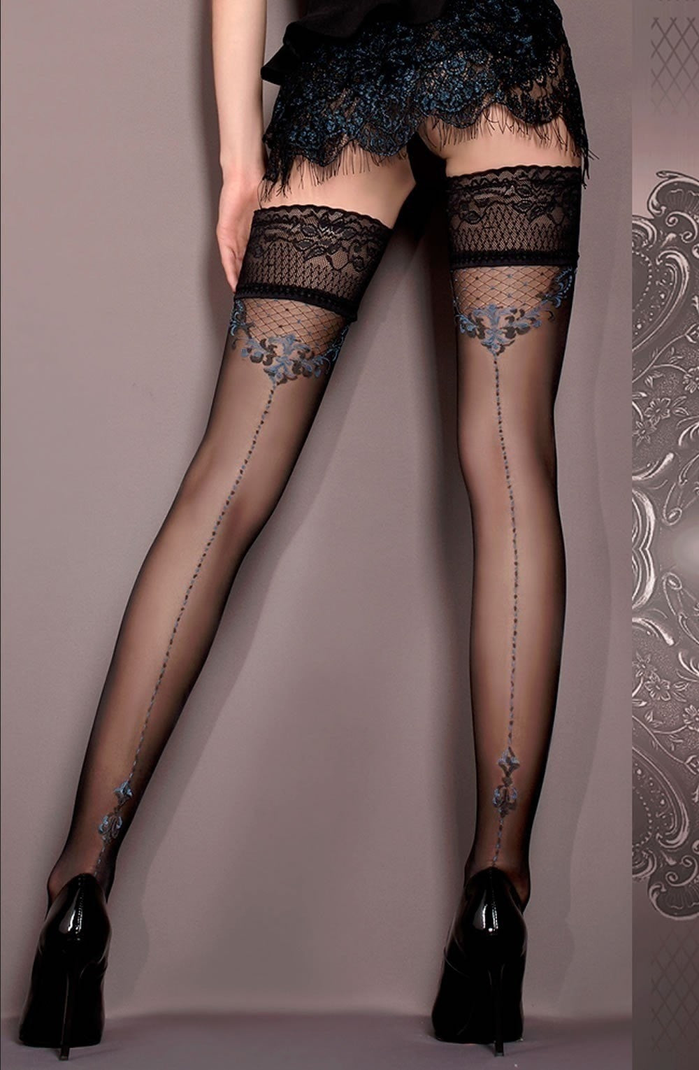 Ballerina Hold Ups 415 (Black/Blue) - Hold Up Stockings - Ballerina - Charm and Lace Boutique
