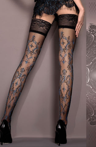 Ballerina Hold Ups 416 (Black/Blue) - Hold Up Stockings - Ballerina - Charm and Lace Boutique