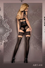 Ballerina Hold Ups 418 (Black/Gold) - Hold Up Stockings - Ballerina - Charm and Lace Boutique