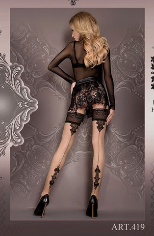 Ballerina Hold Ups 419 (Black/Skin) - Hold Up Stockings - Ballerina - Charm and Lace Boutique