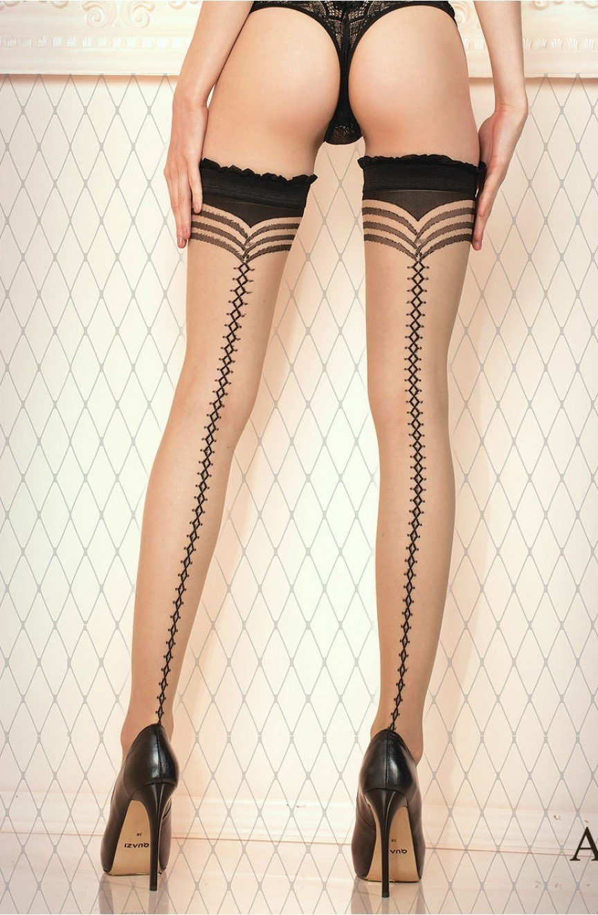 Ballerina 430 Hold Ups (Nero Black/Skin) - Hold Up Stockings - Ballerina - Charm and Lace Boutique