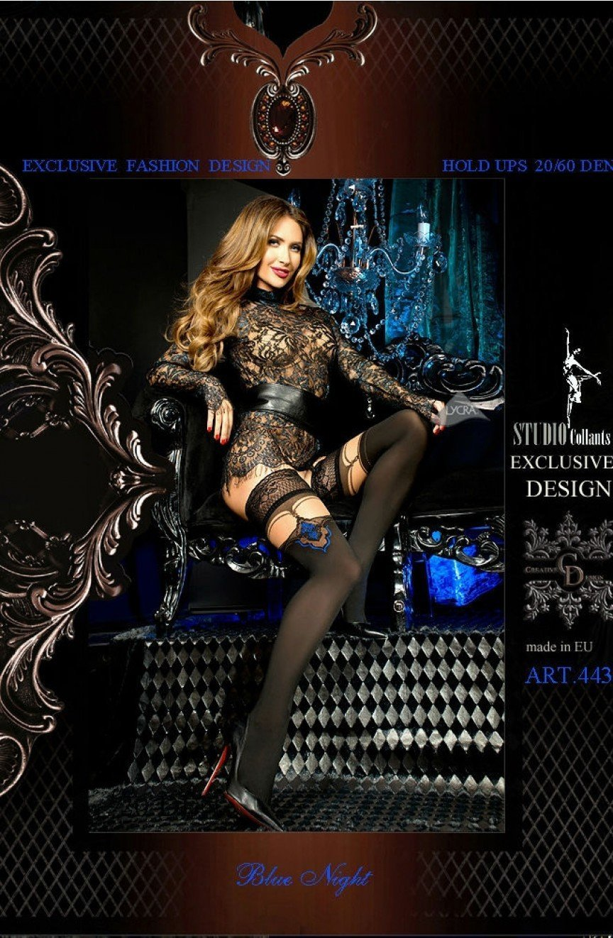 Ballerina Hold Ups 443 (Nero Black/Skin) - Hold Up Stockings - Ballerina - Charm and Lace Boutique
