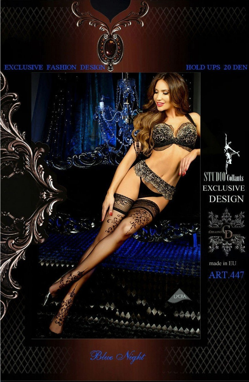 Ballerina Hold Ups 447 (Nero/Black) - Hold Up Stockings - Ballerina - Charm and Lace Boutique