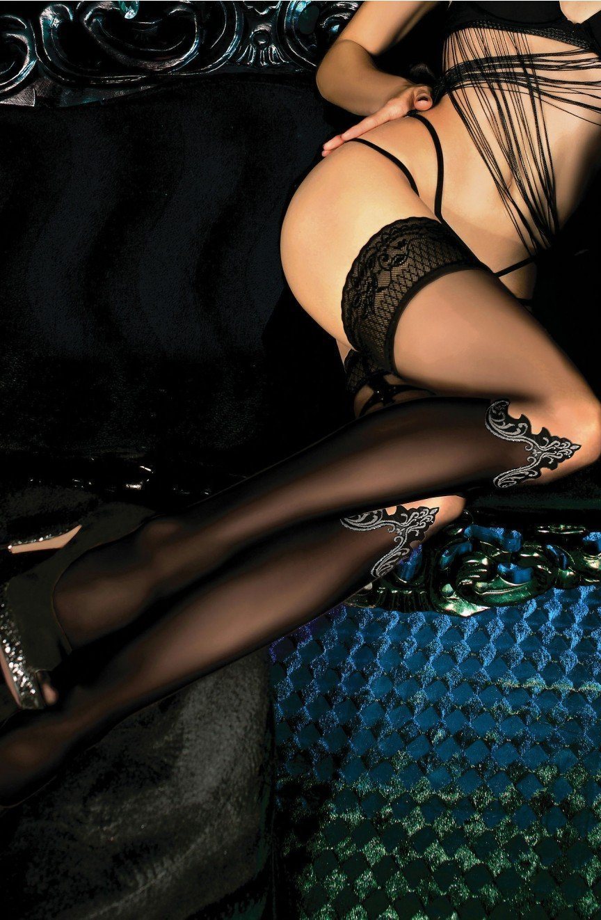 Ballerina Hold Ups 449 (Nero Black/Skin) - Hold Up Stockings - Ballerina - Charm and Lace Boutique
