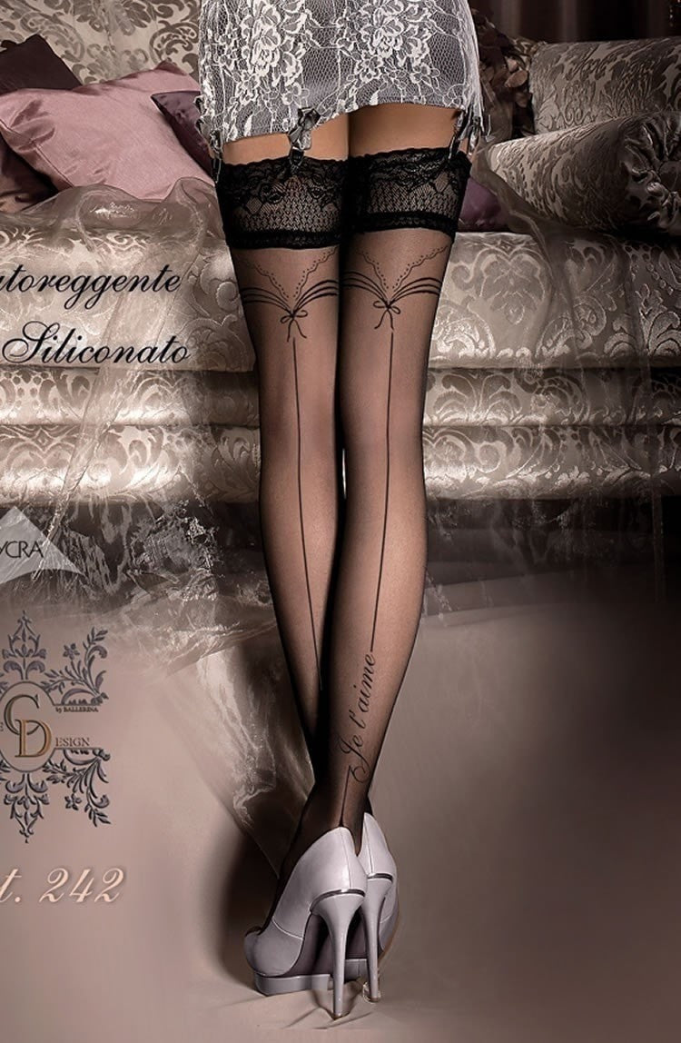 Ballerina 'I Love You' Hold Ups 242 (Black) - Hold Up Stockings - Ballerina - Charm and Lace Boutique