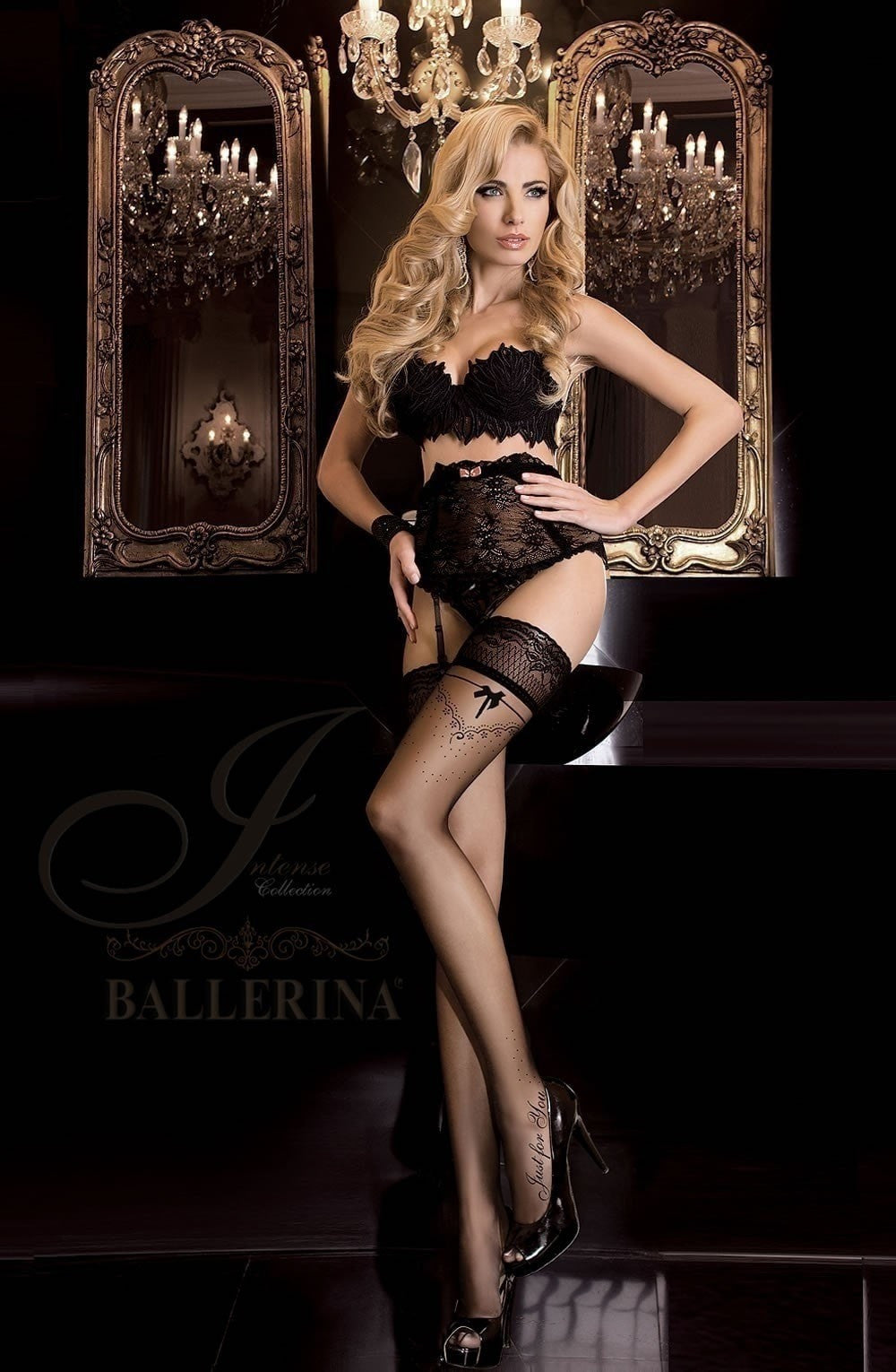 Ballerina 'Just For You' Hold Ups 261 (Black) - Hold Up Stockings - Ballerina - Charm and Lace Boutique
