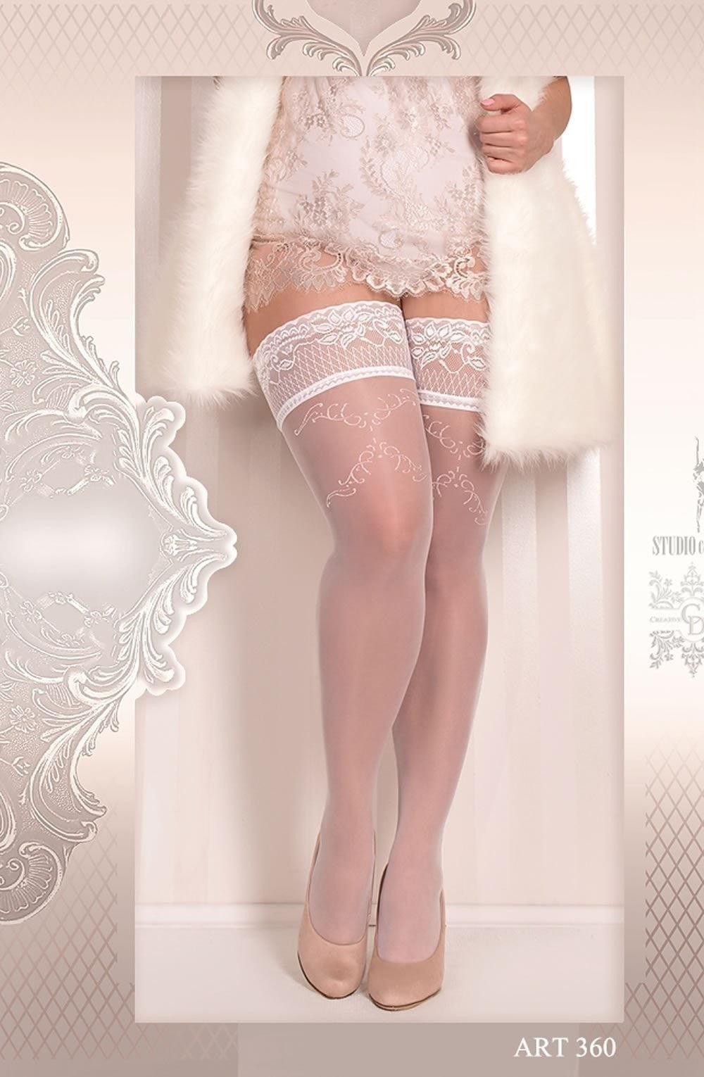 Ballerina Plus Size Hold Ups 360 (White) - Plus Size Hold Up Stockings - Ballerina - Charm and Lace Boutique